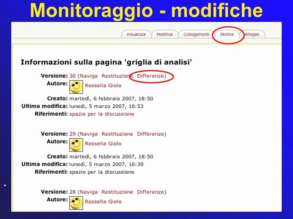 Monitoraggio - modifiche