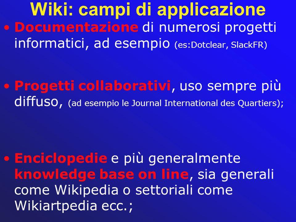 Wiki: campi di applicazione