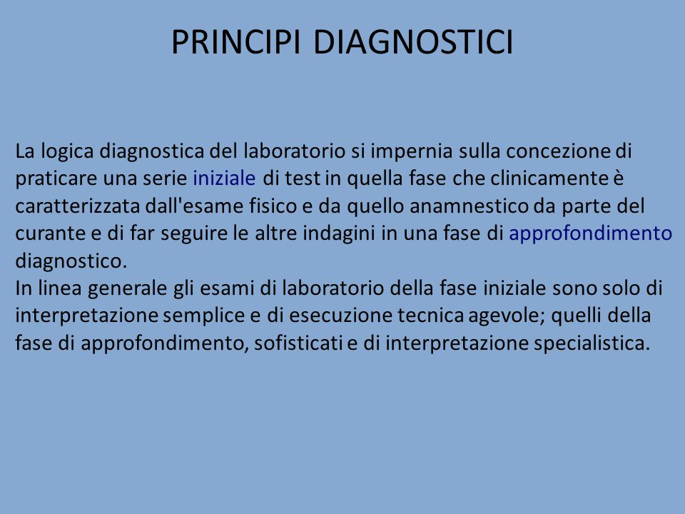 PRINCIPI DIAGNOSTICI