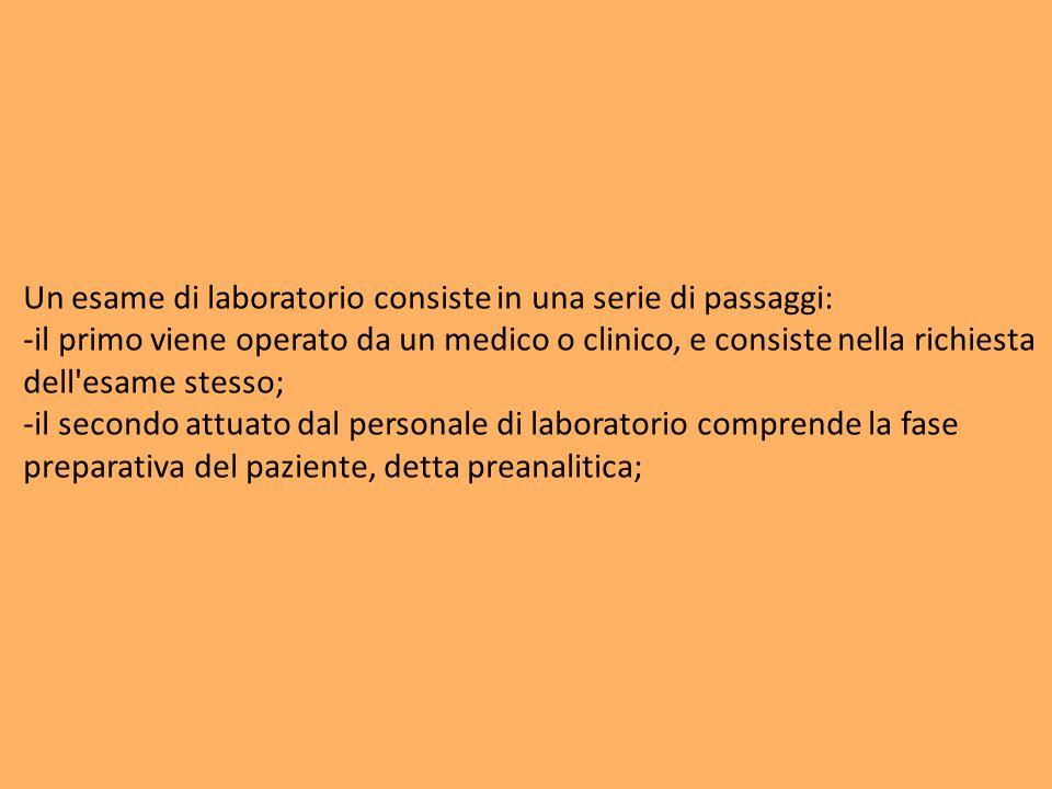 Un esame di laboratorio consiste in una serie di passaggi: