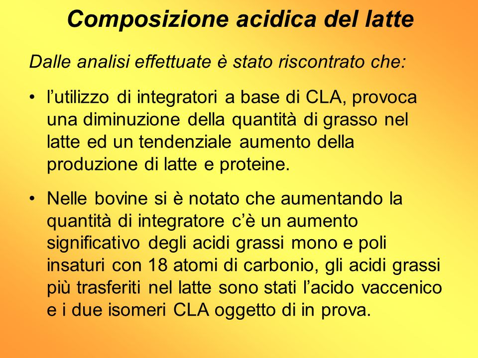 Composizione acidica del latte