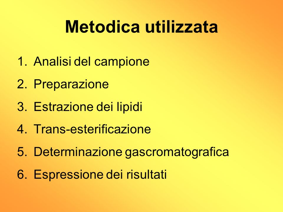 Metodica utilizzata Analisi del campione Preparazione