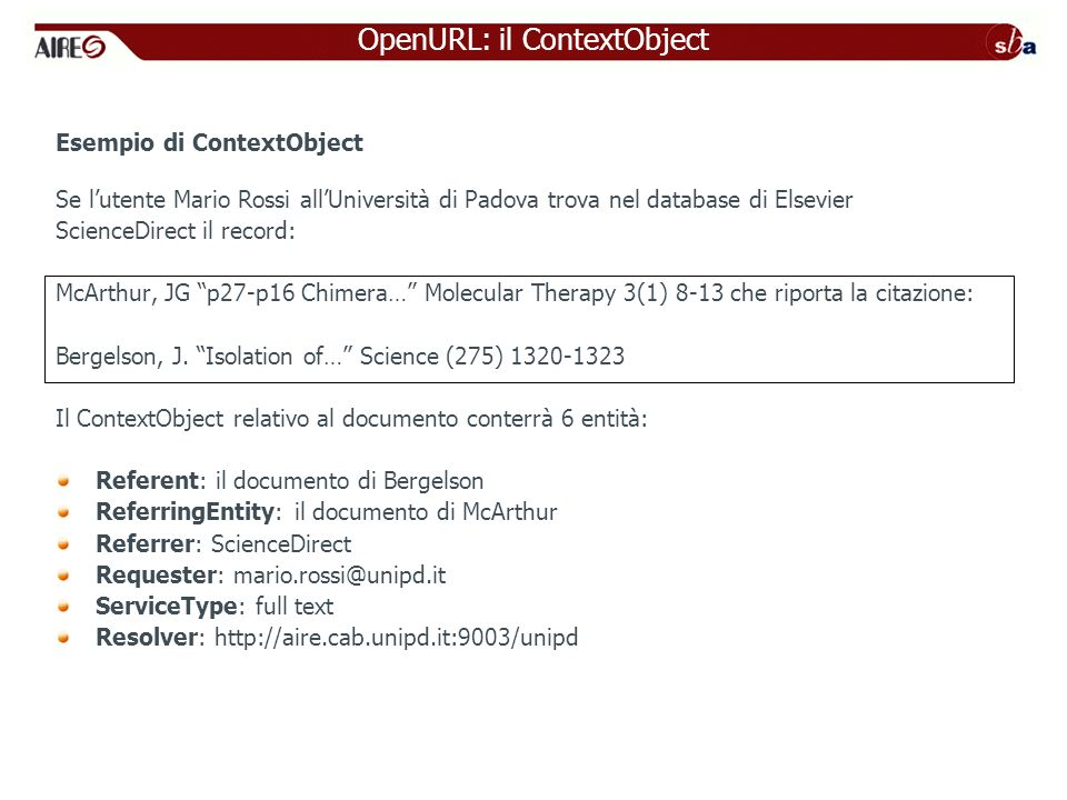 OpenURL: il ContextObject