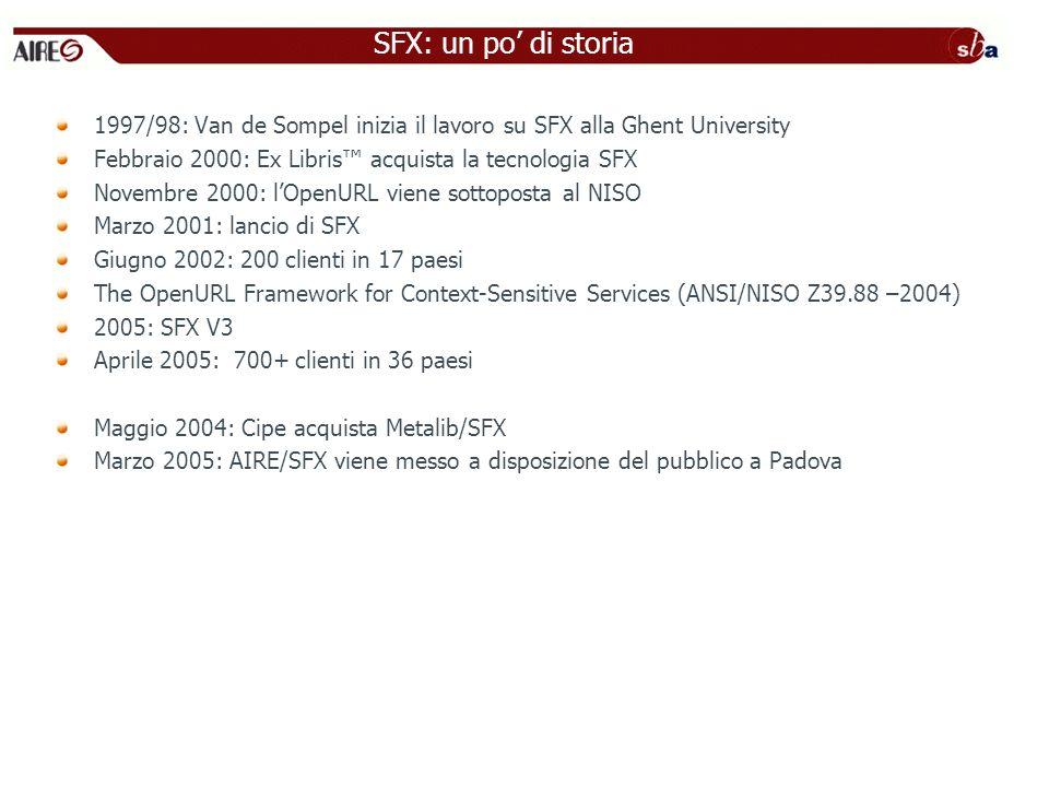 SFX: un po' di storia 1997/98: Van de Sompel inizia il lavoro su SFX alla Ghent University. Febbraio 2000: Ex Libris™ acquista la tecnologia SFX.