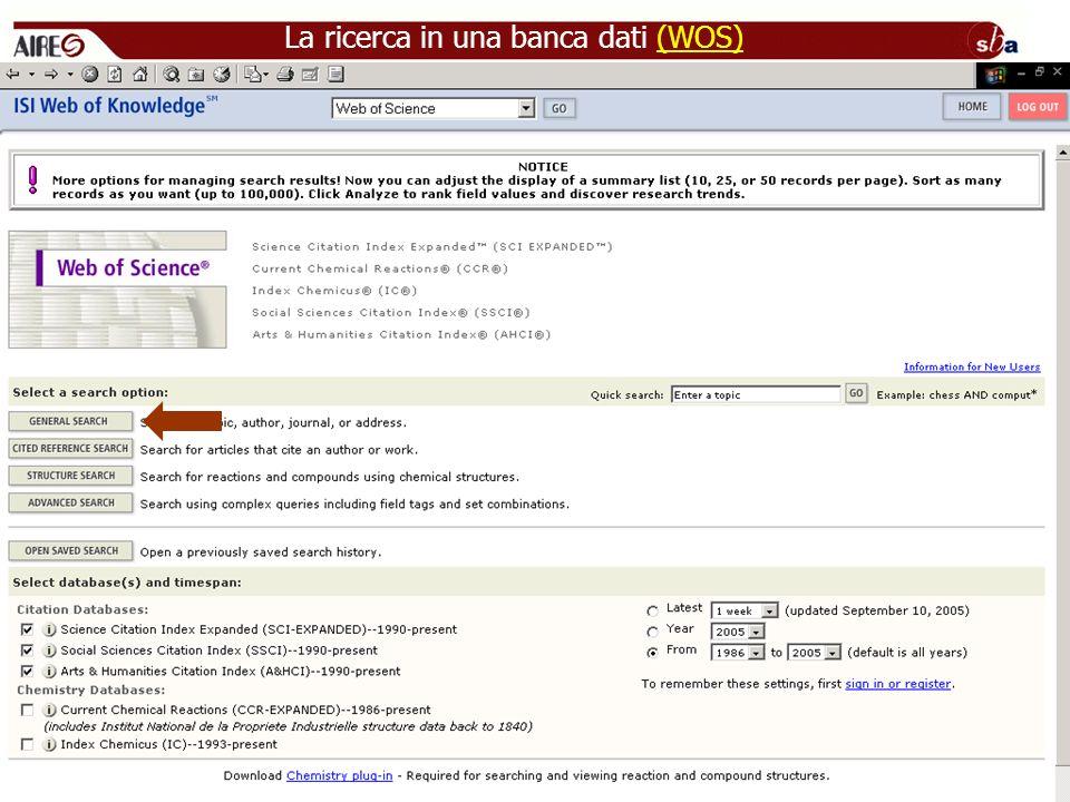 La ricerca in una banca dati (WOS)