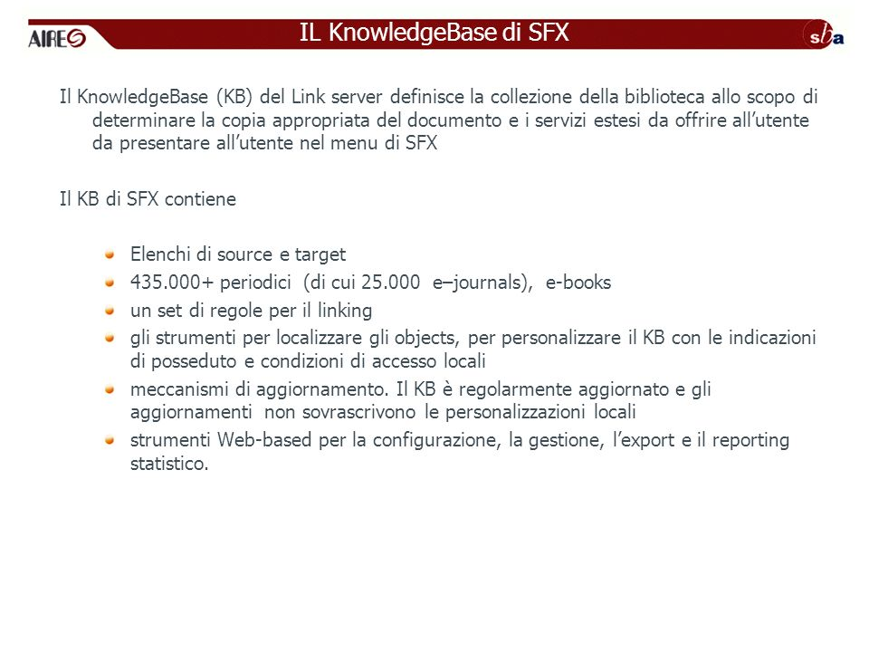 IL KnowledgeBase di SFX