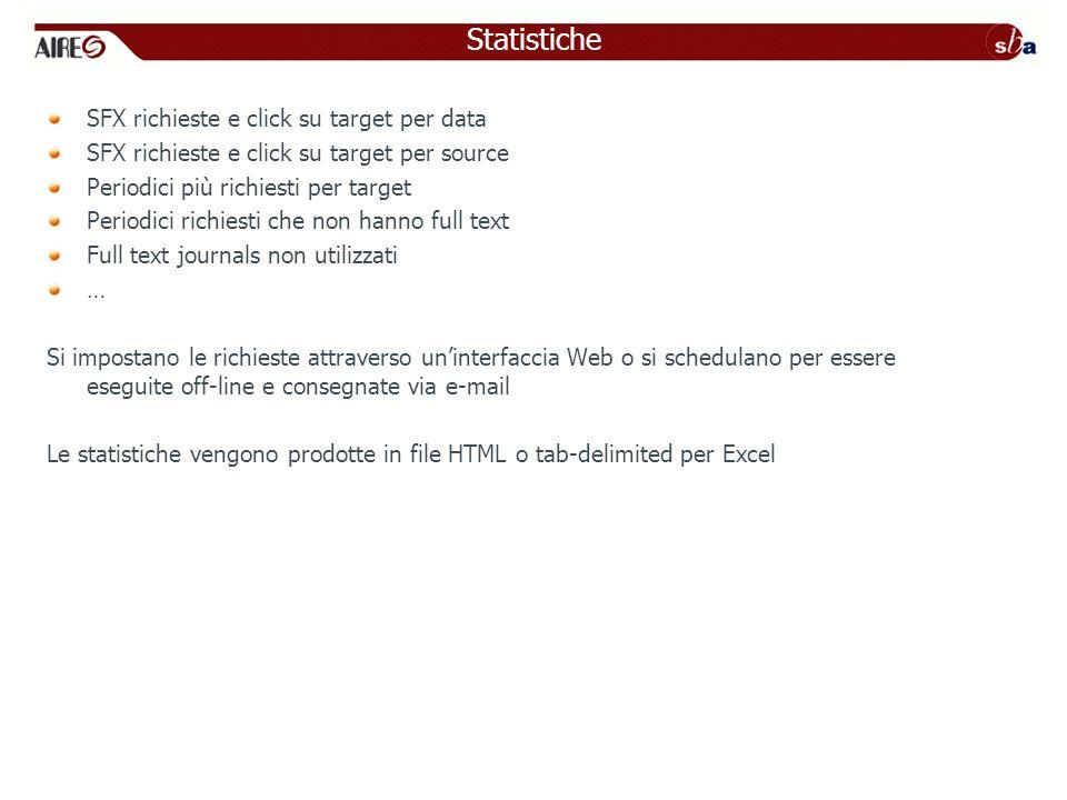 Statistiche SFX richieste e click su target per data