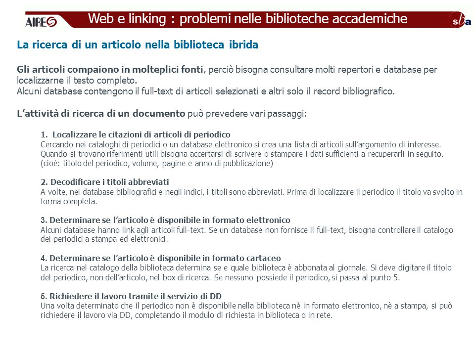 Web e linking : problemi nelle biblioteche accademiche