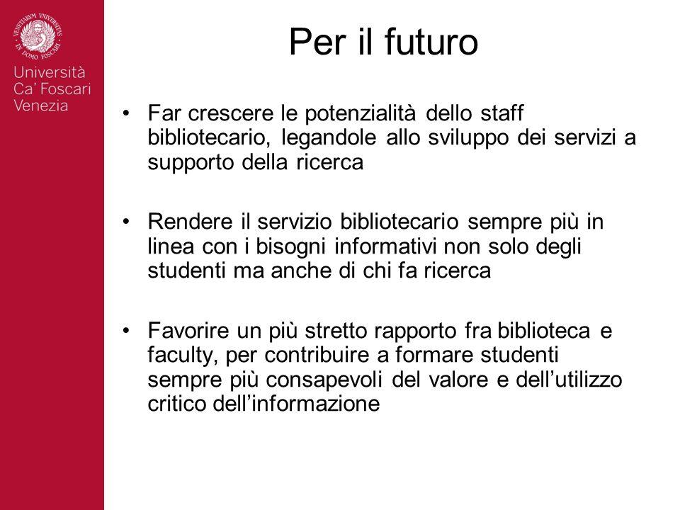 Per il futuro Far crescere le potenzialità dello staff bibliotecario, legandole allo sviluppo dei servizi a supporto della ricerca.