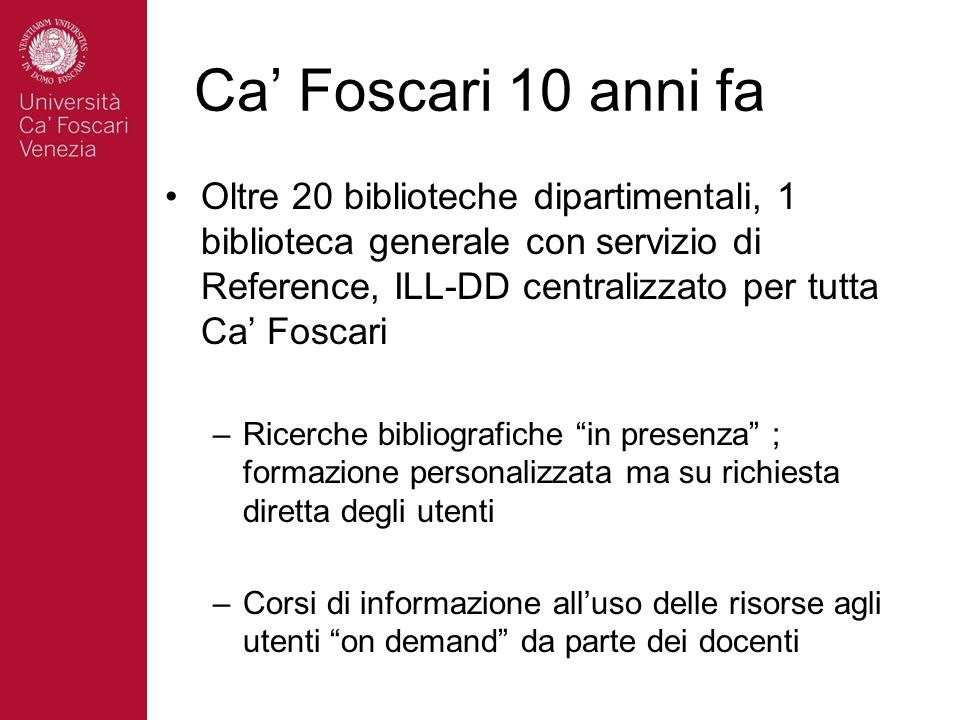 Ca' Foscari 10 anni fa