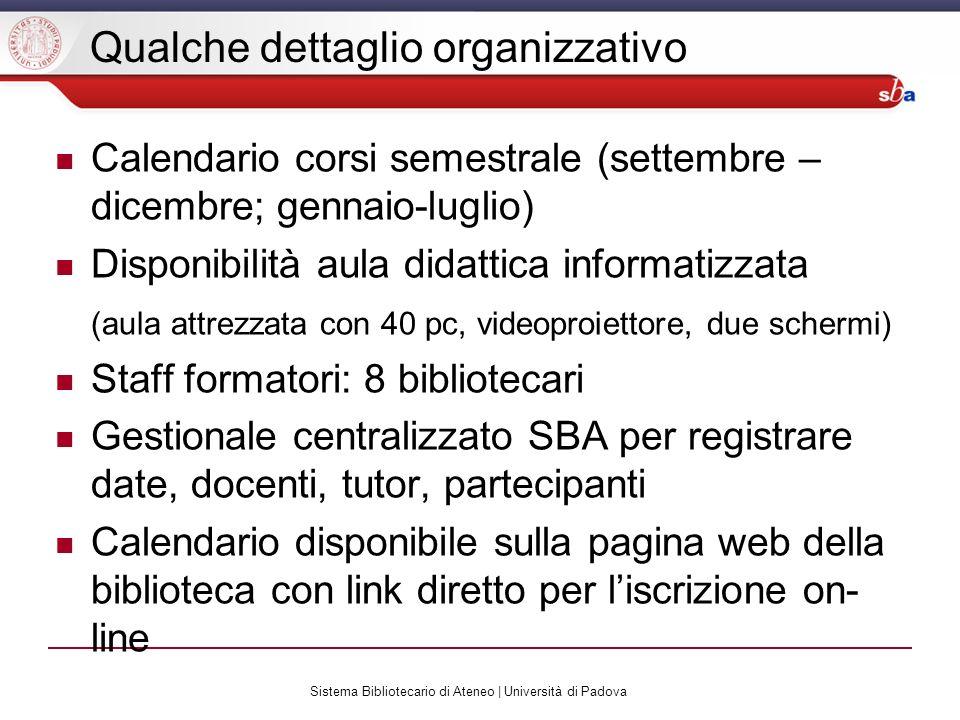 Qualche dettaglio organizzativo