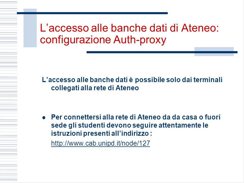 L'accesso alle banche dati di Ateneo: configurazione Auth-proxy