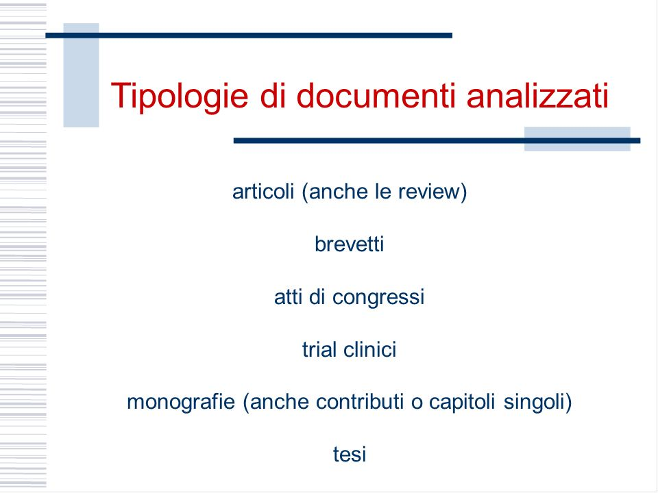 Tipologie di documenti analizzati