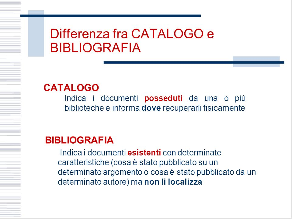 Differenza fra CATALOGO e BIBLIOGRAFIA