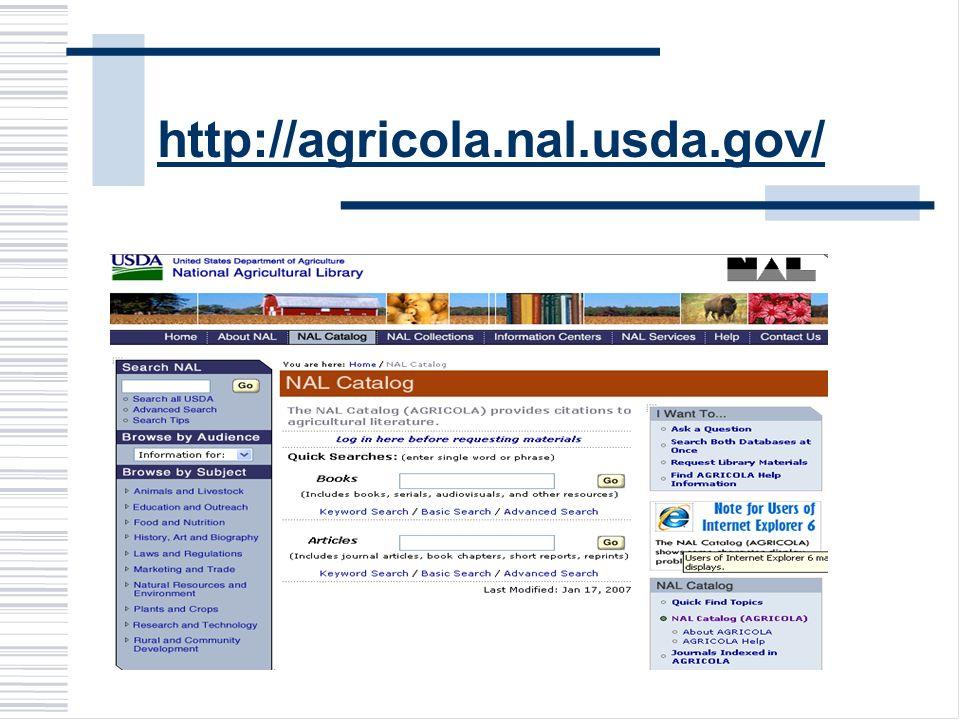 http://agricola.nal.usda.gov/