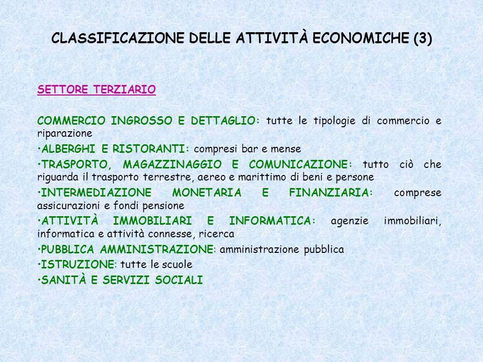 CLASSIFICAZIONE DELLE ATTIVITÀ ECONOMICHE (3)