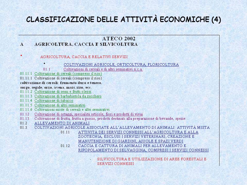 CLASSIFICAZIONE DELLE ATTIVITÀ ECONOMICHE (4)