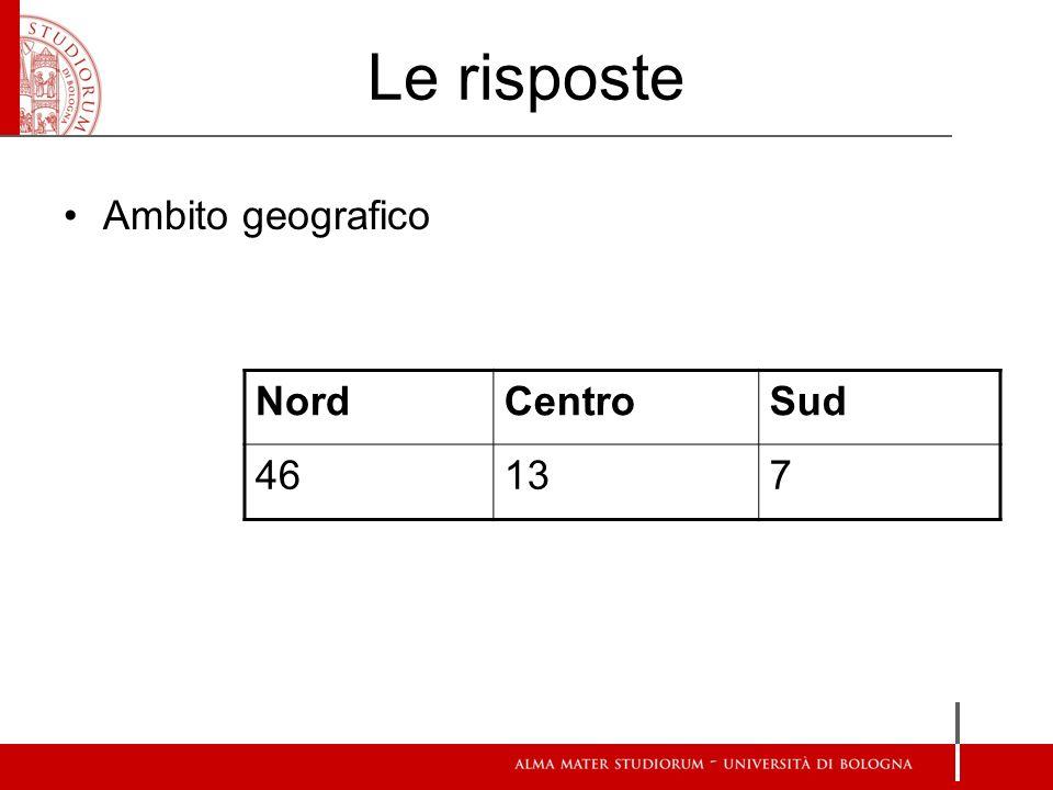 Le risposte Ambito geografico Nord Centro Sud 46 13 7