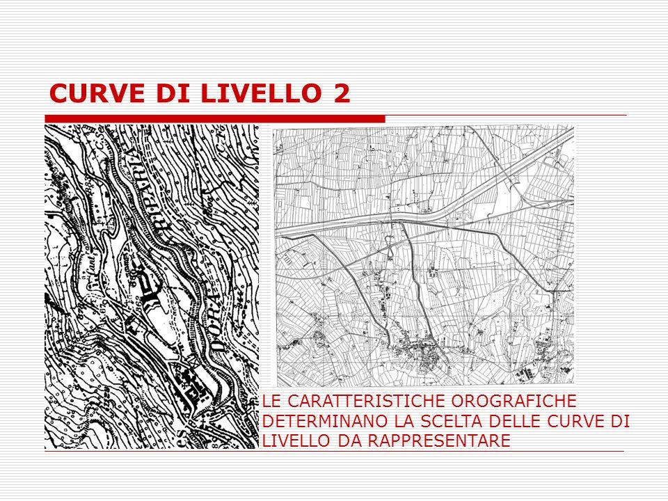 CURVE DI LIVELLO 2 LE CARATTERISTICHE OROGRAFICHE DETERMINANO LA SCELTA DELLE CURVE DI LIVELLO DA RAPPRESENTARE.