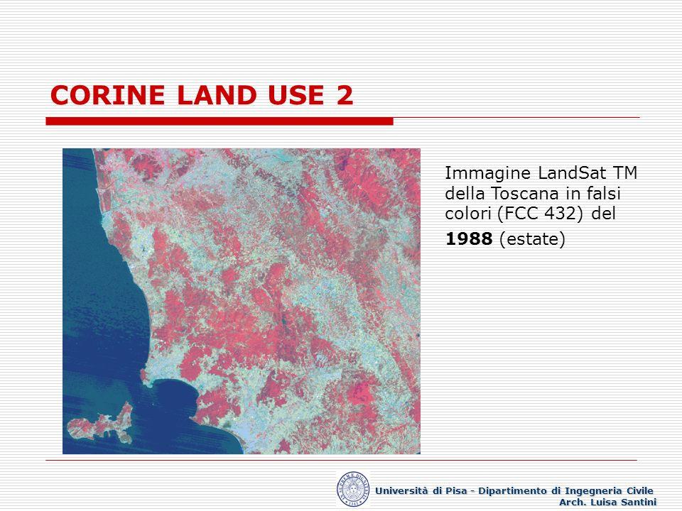 CORINE LAND USE 2 Immagine LandSat TM della Toscana in falsi