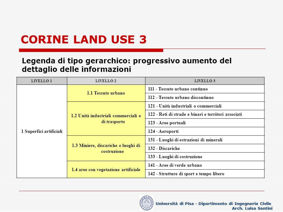 CORINE LAND USE 3 Legenda di tipo gerarchico: progressivo aumento del dettaglio delle informazioni.