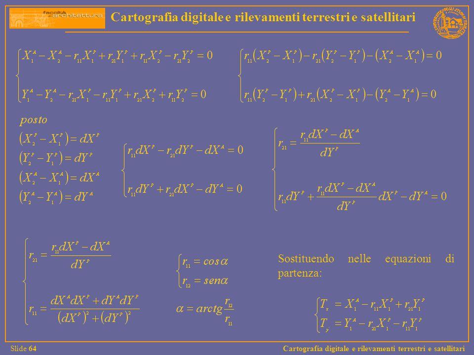Cartografia digitale e rilevamenti terrestri e satellitari