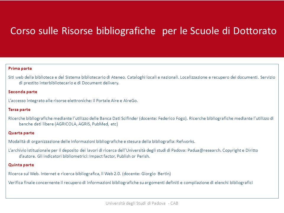 Corso sulle Risorse bibliografiche per le Scuole di Dottorato