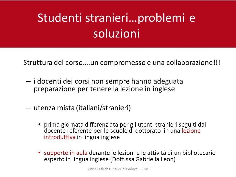 Studenti stranieri…problemi e soluzioni