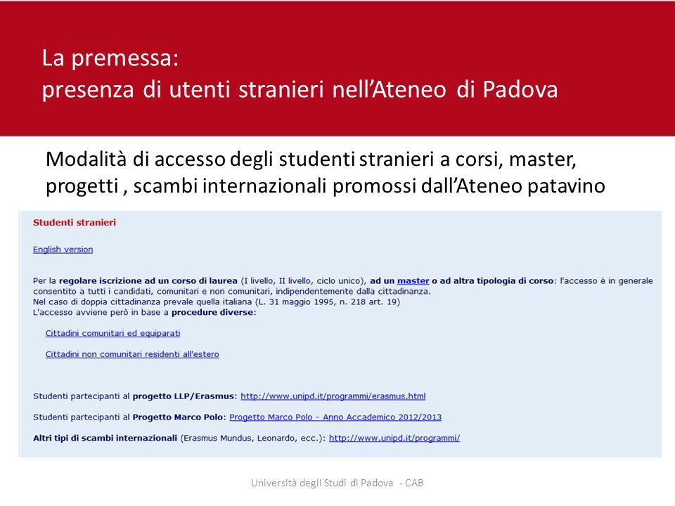 La premessa: presenza di utenti stranieri nell'Ateneo di Padova