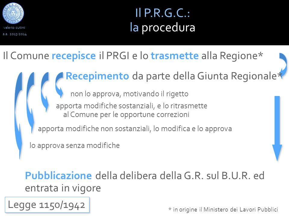 Il P.R.G.C.: la procedura. valerio cutini. a.a. 2013-2014. Il Comune recepisce il PRGI e lo trasmette alla Regione*