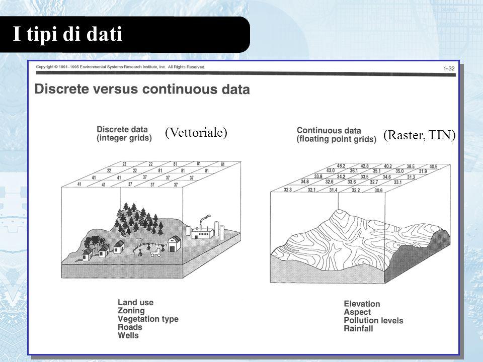 I tipi di dati (Vettoriale) (Raster, TIN)