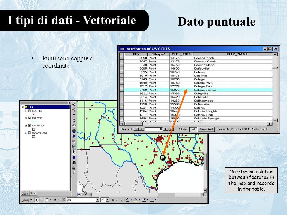 I tipi di dati - Vettoriale Dato puntuale