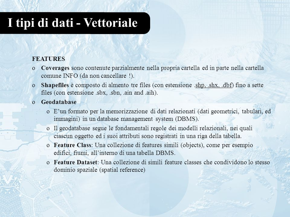 I tipi di dati - Vettoriale