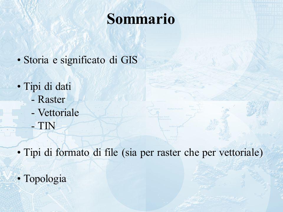 Sommario Storia e significato di GIS Tipi di dati Raster Vettoriale