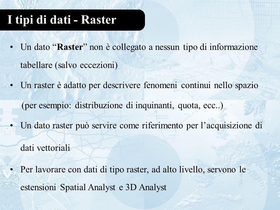I tipi di dati - Raster Un dato Raster non è collegato a nessun tipo di informazione tabellare (salvo eccezioni)