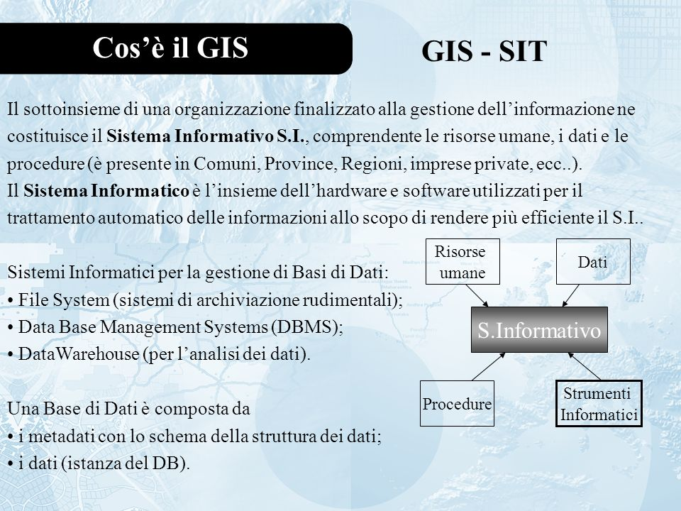 Cos'è il GIS GIS - SIT S.Informativo
