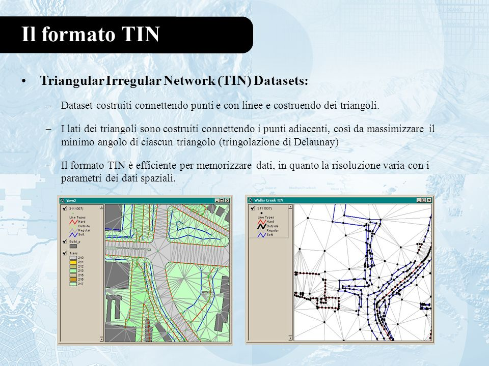 Il formato TIN Triangular Irregular Network (TIN) Datasets: