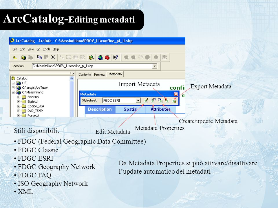 ArcCatalog-Editing metadati