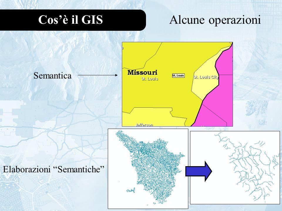 Cos'è il GIS Alcune operazioni Semantica Elaborazioni Semantiche