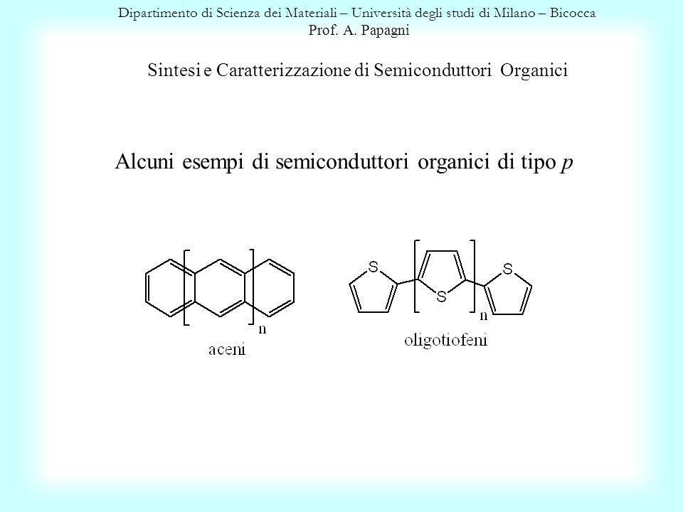 Alcuni esempi di semiconduttori organici di tipo p