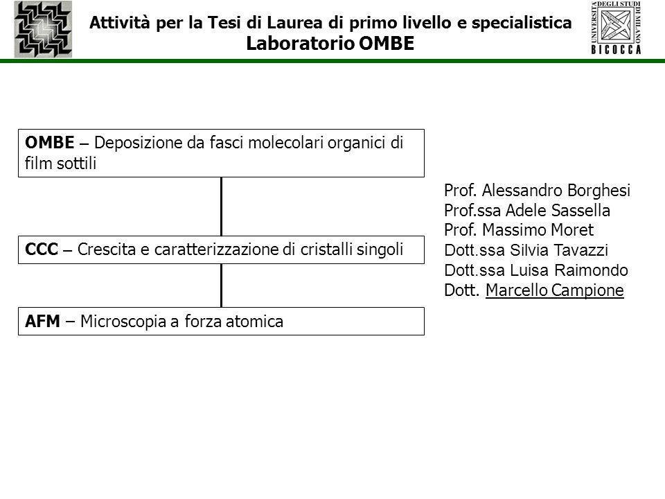 Attività per la Tesi di Laurea di primo livello e specialistica