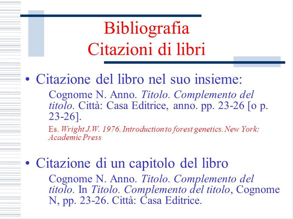 Bibliografia Citazioni di libri