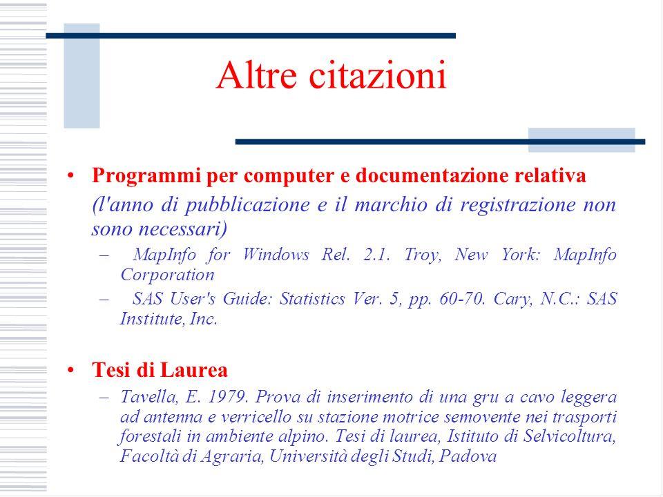 Altre citazioni Programmi per computer e documentazione relativa