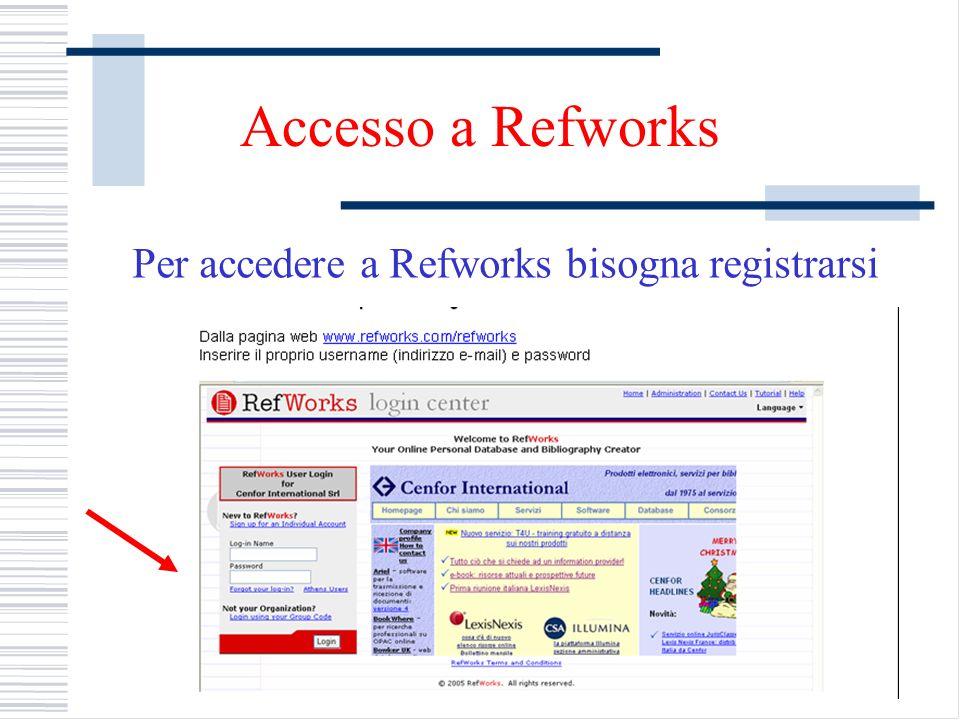 Per accedere a Refworks bisogna registrarsi