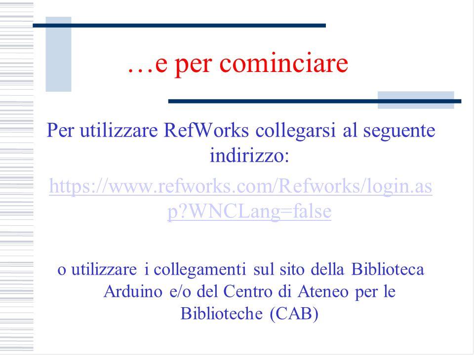 Per utilizzare RefWorks collegarsi al seguente indirizzo: