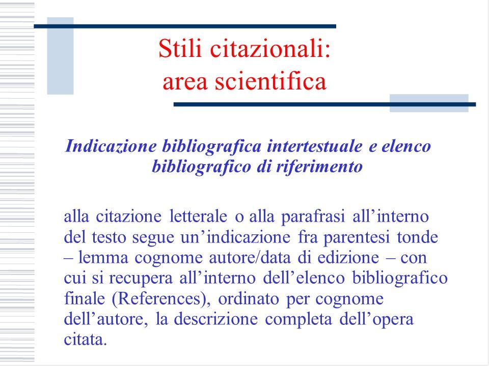 Stili citazionali: area scientifica