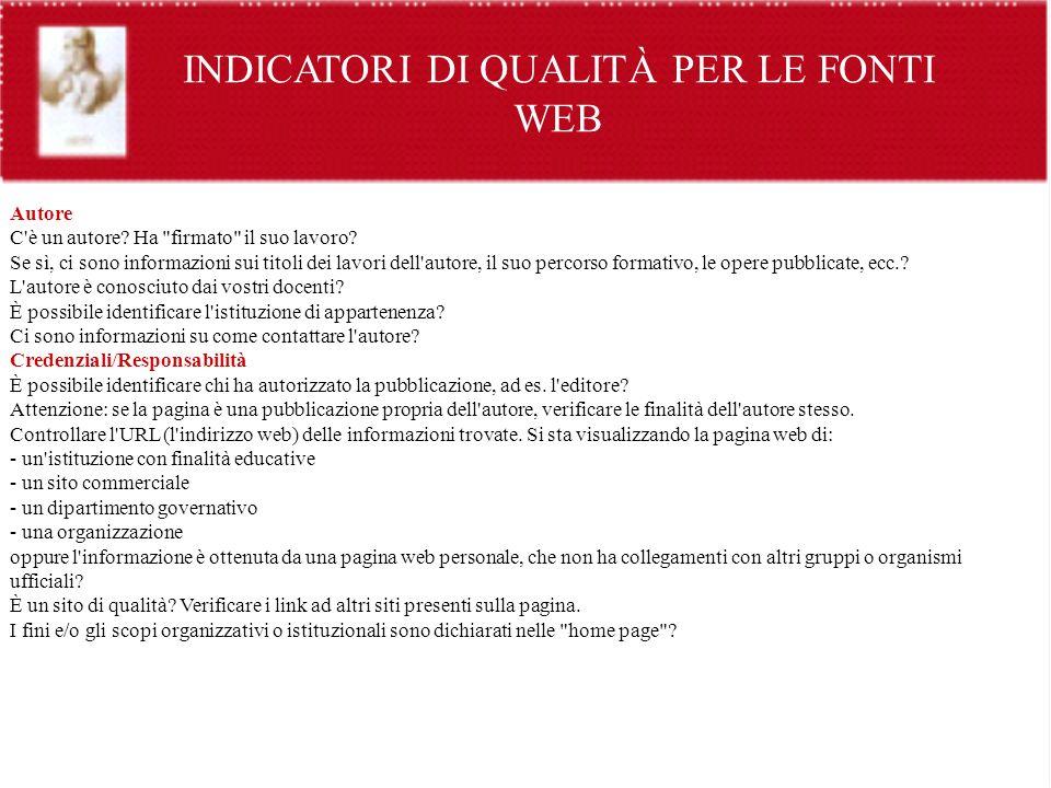 INDICATORI DI QUALITÀ PER LE FONTI WEB