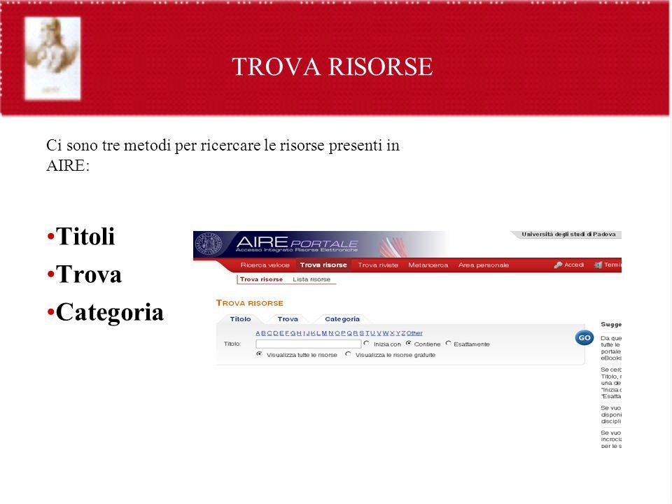 TROVA RISORSE Titoli Trova Categoria