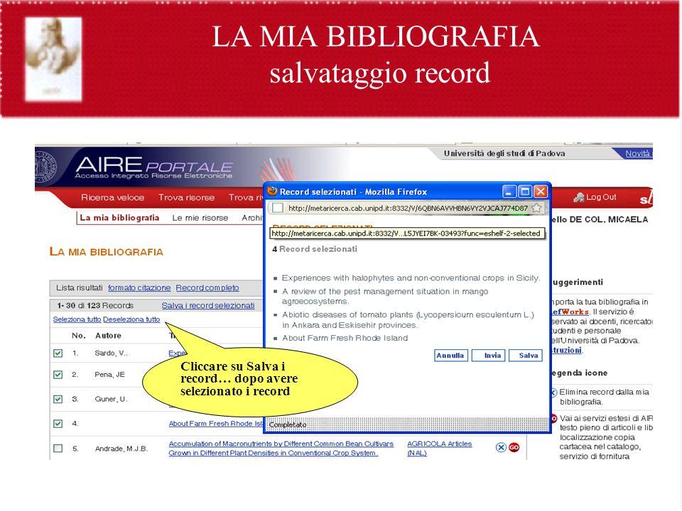 LA MIA BIBLIOGRAFIA salvataggio record