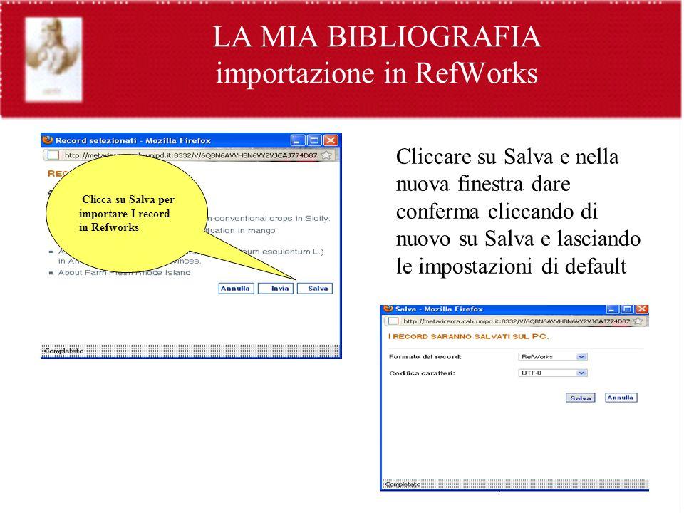 LA MIA BIBLIOGRAFIA importazione in RefWorks